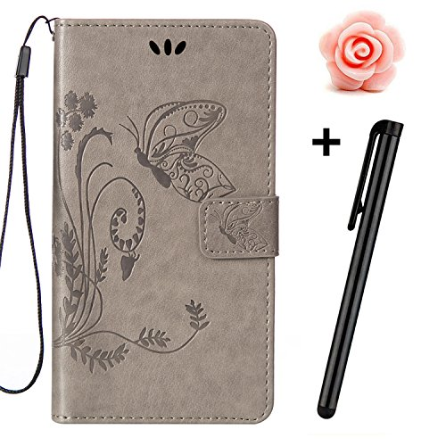 Custodia iPhone 7, custodia iPhone 7S a portafoglio, prodotto Toyym di alta qualità, decorazione con fiori/animali/personaggi, in ecopelle [chiusura magnetica] con tasche per carte, per iPhone Apple 7 Grey