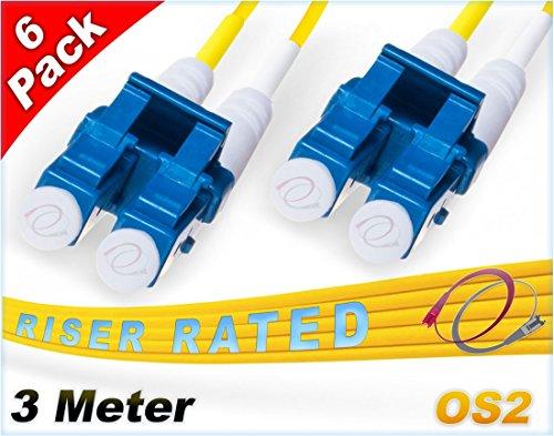 FiberCablesDirect 3M Os2 Lc Lc Einspielermodus Ballastsnachff Patch-Kabels - Duplex 9/125 Lc nach Lc Einspielermodus fliegendes Kabel Kabel 3 Meter (9.84 Füße) (6 Pack) -