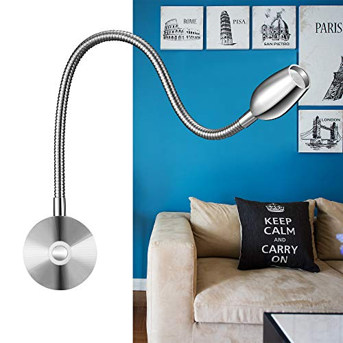 Lampada a led da lettura,luminosità regolabile,montaggio a parete,luce con funzione di memoria ed interruttore touch,bianco caldo,200lm/3000k/3w/,angolo di illuminazione:30°,lunghezza:38cm