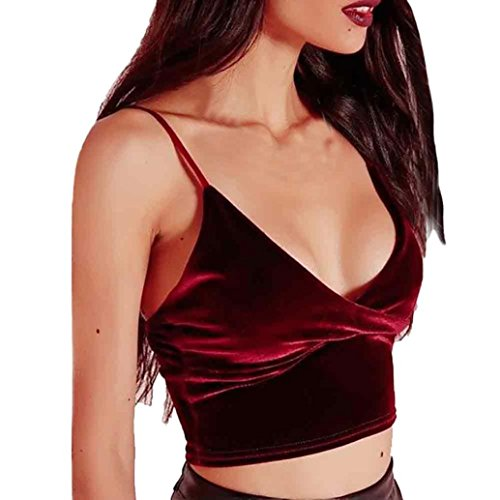 Bekleidung FORH Damen Sexy V-Ausschnitt Samt Halter Weste Bustier Bandage Rückenfrei Crop Top Leibchen kurz oberteile Elegant Reizwäsche Tanktops Kostüme (Rot, L) (Anzug Leibchen)