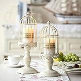 Portacandele vintage a forma di gabbia per uccelli, portacandele decorativo da tavolo per matrimonio, decorazione di portacandele in ferro battuto (2 Pcs/set)