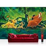 Vlies Fototapete 208x146cm PREMIUM PLUS Wand Foto Tapete Wand Bild Vliestapete - Disney Tapete König der Löwen Kindertapete Cartoon Simba Pumpa Dschungel grün - no. 1399