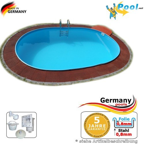 Ovalpool 4,90 x 3,00 x 1,35 Stahlwandpool Swimmingpool Ovalbecken 4,9 x 3,0 x 1,35 Schwimmbecken Stahlwandbecken Fertigpool oval Pool Einbaupool Pools Gartenpool Einbaubecken Poolbecken Set