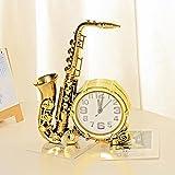 Axiba Kaminuhren Saxophon Modellierung Desktop-Uhr nach Hause Schlafzimmer Bett Uhr Ornamente 26 * 19cm-Hausdekorationen