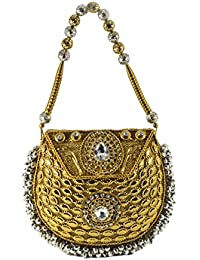 The Bag Spot Party Wedding Bridal Metal Sling Bag With Stone Works Solid Metal Design.