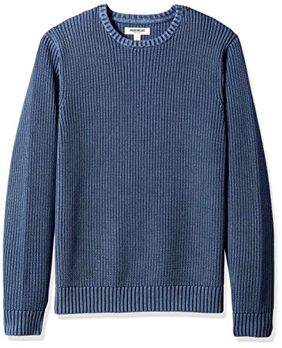 Goodthreads Herren Weicher gerippter Baumwoll-Pullover mit rundem Ausschnitt