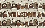 Toland Home Garden Welcome Eulen Owls Dekorative Fußmatte, Cute Rustikal Braun
