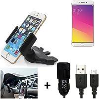 K-S-Trade® TOP SET para Oppo F1 Plus Soporte Ranura de CD Smartphone coche para los dispositivos de navegación / teléfonos inteligentes montaje de la radio hecho smartphone teléfono móvil navegación GPS para Oppo F1 Plus + CARGADOR
