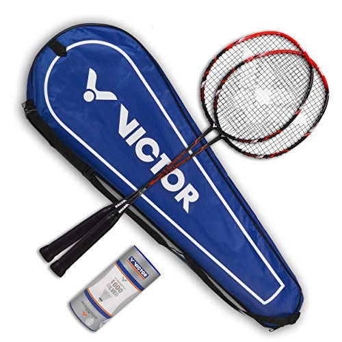 VICTOR Badminton Set - 2x Ultramate 6 / Racketbag / 3x Nylonball - matt beige
