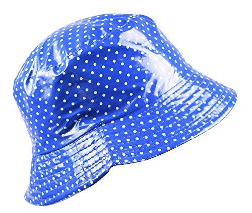 best website 09e5f 0668f Shark Tooth Gorro de Pescador Impermeable para Mujer Azul Real con Lunares  Blancos