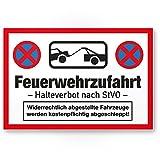 Feuerwehrzufahrt Kunststoff Schild (30 x 20cm), Hinweisschild Feuerwehreinfahrt - Halteverbot nach StVO, Warnhinweis - Halteverbot, Parkverbot, parken verboten