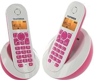 Telefunken TB202PFR Peps Duo Téléphone sans fil sans répondeur 2 combinés Rose