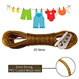 #6: AllExtreme 20 meter PVC Coated Steel Anti-Rust Wire Rope Washing Line Clothesline with 2 Plastic Hooks(Golden)