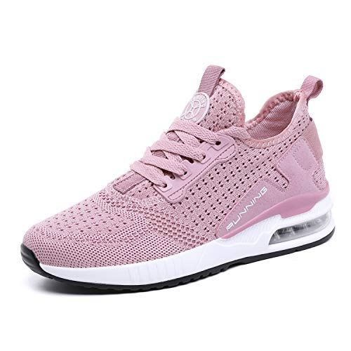 tqgold Basket Femme Homme Chaussure de Sport Course Running Fitness Tennis Mode Sneakers(Rose,Taille 37)