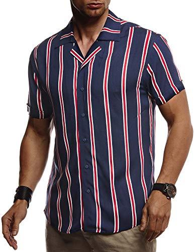 LEIF NELSON Herren Hemd Kurzarm Oversize Kentkragen | Stylisches Männer Hawaiihemd Stretch Kurzarmhemd | Jungen Basic Shirt Freizeit Urlaub Sommerhemd Freizeithemd| LN3725 Blau Large - Kurzarm-hemd Mit Krawatte