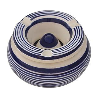AB Handicrafts - Ceramic Ashtray (Blue Strips)