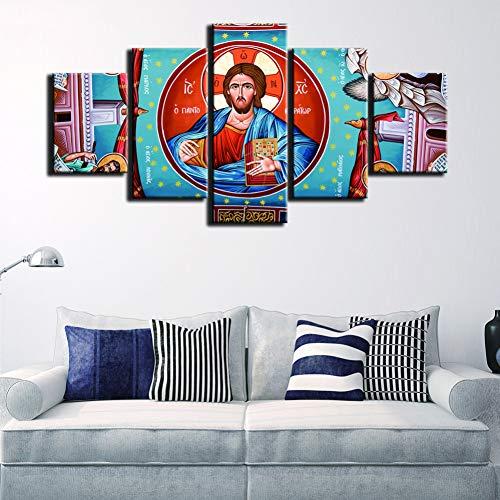 RMRM HD Lienzo de impresión Marco de Cuadros modulares Marco Arte de la Pared Pintura 5 Paneles Virgen María Moda para Sala de Estar decoración Cartel 30x40cm 30x60cm 30x80cm