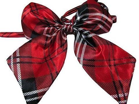 Ladies girls fashion satin bow neck tie cravat 15+ colours party fancy dress: leopard, spotted, stripes by Fat-catz-copy-catz (Ladies Red Tartan