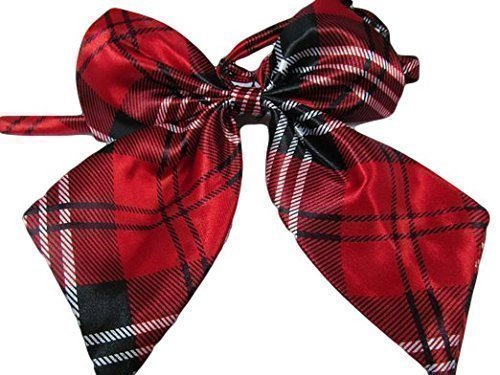 Damen mädchen fashion satin schleife krawatte Krawatte 15+ farben party kostüm: leopard, gepunktet, streifen by Fat-catz-copy-catz - Damen Rote Karo Krawatte, 12.5cm x (Kostüme Lady Fat)