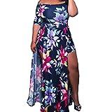 Jipai(TM Vestidos Estampados Flores Tallas Grandes Mujeres Manga Corta Cuello Redondo Sin Hombro Falda Larga (4XL)