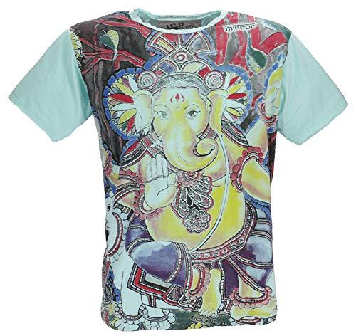 Guru-Shop Mirror T-Shirt, Herren, Ganesh/Mint, Baumwolle, Size:XXL, Bedrucktes Shirt Alternative Bekleidung