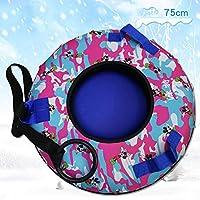 ZHAOK Trineo De Nieve Inflatable Snow Tubes con Asas, Material espesante de 0.3 mm, para Adultos y Mayores de 3 años Niños-75CM,Rojo