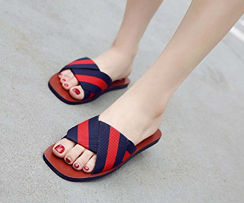 L&Y Sandali aperti delle donne Sandali freddi Pantofole piane estive pieghevoli Beach Flip Flop Blu