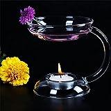 Kicode Elegante aroma Candeliere di vetro Porta candele Bruciatore ad olio aromatico Regalo della decorazione della tabella