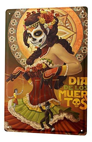 Blechschild Retro Dia de los Muertos (De Dia Los Muertos-kuchen)