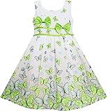Sunny Fashion Vestito Bambina Farfalla Verde Doppio Cravatta a Farfalla Estate Spiaggia Sole Bambini 6 Anni