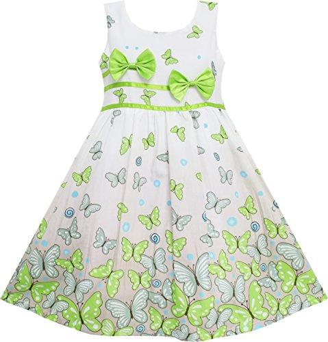 Sunboree Mädchen Kleid Schmetterling Grün Doppelklicken Bogen Binden Sommer Strand Gr.98-104