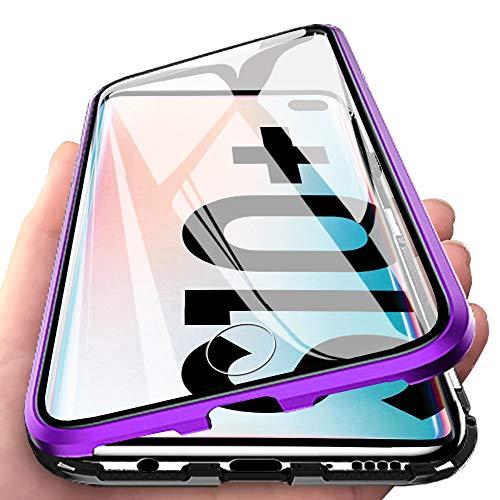 Eabhulie Galaxy S10 Plus Hülle, Vollbildabdeckung Gehärtetem Glas mit Magnetischer Adsorptionskasten Metall Rahmen 360 Grad Komplett Schutzhülle für Samsung Galaxy S10 Plus Lila Schwarz - Rahmen Plus Zubehör