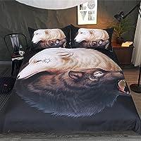 Tai Chi Wolf Muster Heimtextilien Bettwäsche 3D-Druck, 3 Stück Reversible Polyester Bettbezug Set Beinhaltet 1X Bettbezug - 2X Kissenbezug,Full203cmx228cm