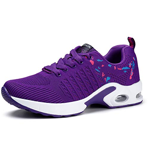 Womens Trainers Lightweight Running Shoes Air Cushion Sneakers Athletic Mesh Sport Gym Shoes Purple UK 8