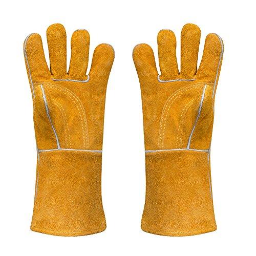 Leder Schweißen Handschuh 400F Lange dicke schwere hitzebeständig Handschuhe für Grillen Kochen Camping Grill Ofen pad groß 14 (Doppel-manschette Leder Handschuhe)
