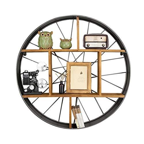 Runde Eisenwand Schwebende Regal Holz Trennwand für Wohnzimmer Schlafzimmer Bücherregal Artware Lagerung Display Rack Dekorative Einheit Rahmen 7 Grid, MTX Ltd -
