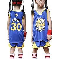 Uniforme Escolar de Baloncesto para niños y niñas # 30 Stephen Curry Golden State Warrior Camiseta de Baloncesto para niños, Pantalones Cortos de Verano Conjunto de Dos Piezas-Blue-M
