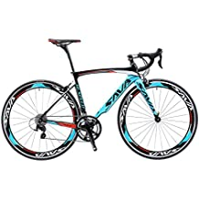 SAVA Bicicleta de Carretera de Fibra de Carbono 700C SHIMANO 4700 20-Velocidad Sistema (Negro Blanco Azul, 520MM)