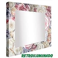 Ccretroiluminados Rosas de Colores Espejo de Baño con Luz Acrílico Multicolor 60x80x5.3 cm