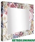 ccretroiluminados Rosen-Farben-Badezimmerspiegel mit Licht, Acryl, mehrfarbig, 80x 80x 5.3cm