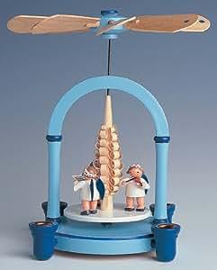 1 niveaux Noël allemand Pyramide de Noël - Noël allemand Ange musique bleu - 21 cm / 8 pouces - Auth