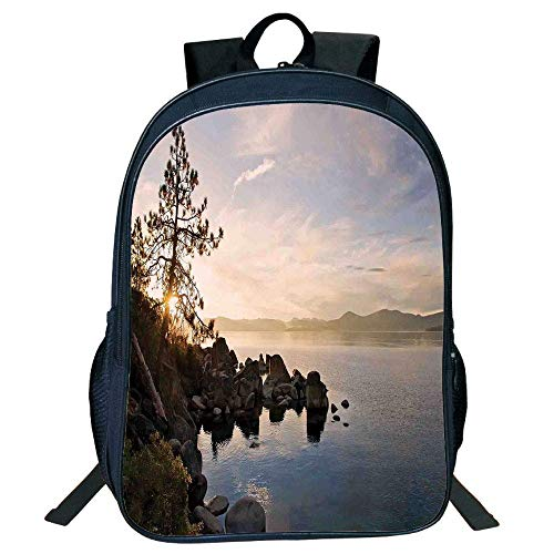 HOJJP Schultasche Suitable for Primary School Backpack,Lake,Lake Tahoe at Sunset with Clear Sky and Single Pine Tree Rest Peaceful Weekend Photo,Blue Grey,for Kids. -