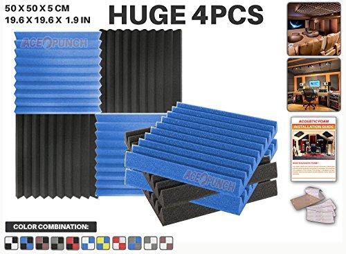 ace-punch-4-pieces-bleu-et-noir-combinaison-de-couleurs-wedge-studio-foam-panel-isolation-sonore-tra