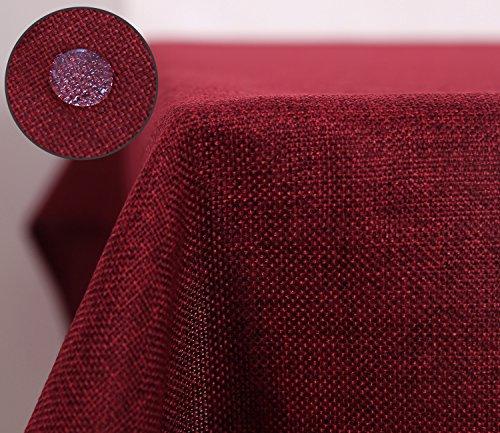 Deconovo Nappe Imperméable pour Table Rectangulaire Effet Lin 140x240 cm Rouge