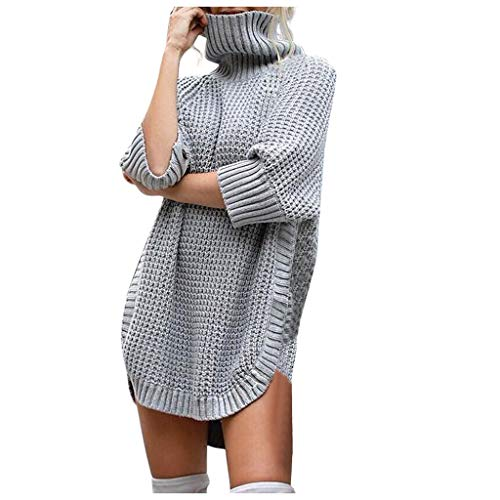 AMUSTER Damen Herbst Winter Kaschmir Langarm Rollkragen Pullover Kleid Gestrickter Sweater Pullover Kleid Langarm Strickpullover -