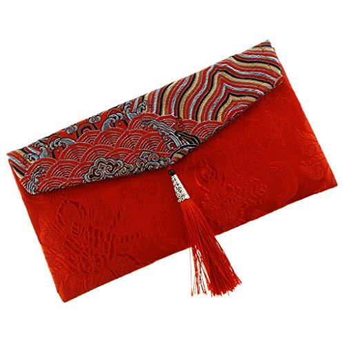 F Fityle Chinesische Rote Umschläge Geldumschlag Taschen Beutel für Hochzeit Frühlingsfest - Wellenrot (Chinesische Rote Pakete)