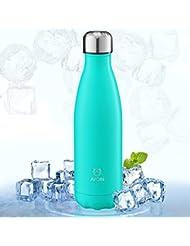 Botella Deportiva de Aluminio Inoxidable y Doble Pared con Aislamiento al Vacío - Color Azul Turquesa