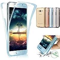 Galaxy Grand Prime G530caso, surakey claro transparente Ultra Slim 360Grado Protección a Prueba de Golpes parachoques funda para Samsung Galaxy Grand Prime G530–con parte delantera y trasera cuerpo completo TPU silicona Gel