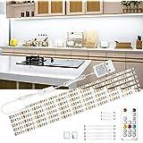 Wobsion Réglette LED blanche de 3 m, bande LED pour armoire de cuisine, barre lumineuse lumineuse avec télécommande sans fil,
