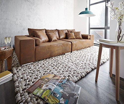 DELIFE XXL-Couch Marbeya Braun 285×115 cm Antik Optik mit Kissen Bigsofa